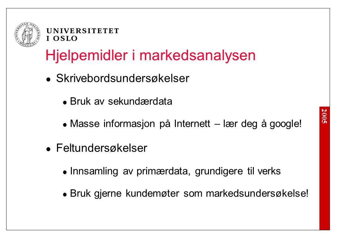 2005 Hjelpemidler i markedsanalysen Skrivebordsundersøkelser Bruk av sekundærdata Masse informasjon på Internett – lær deg å google! Feltundersøkelser