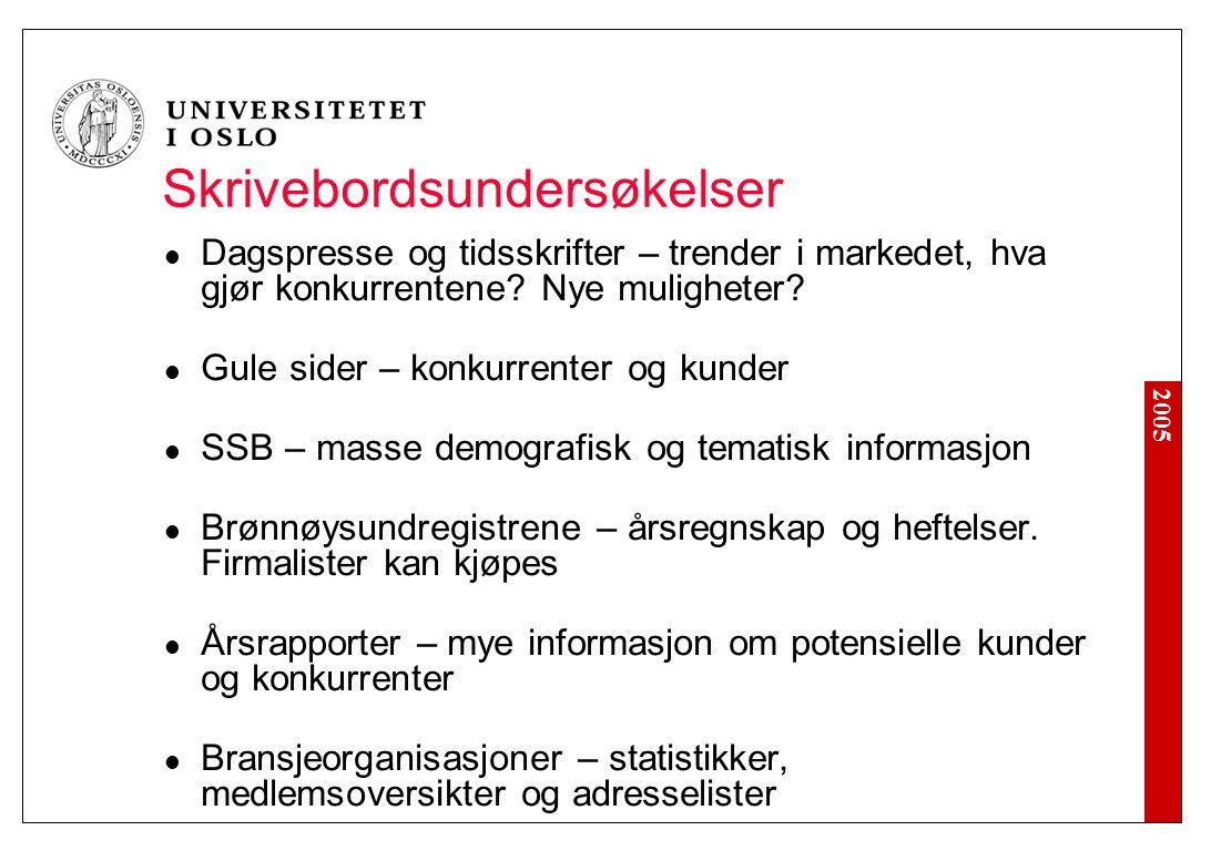 2005 Skrivebordsundersøkelser Dagspresse og tidsskrifter – trender i markedet, hva gjør konkurrentene.