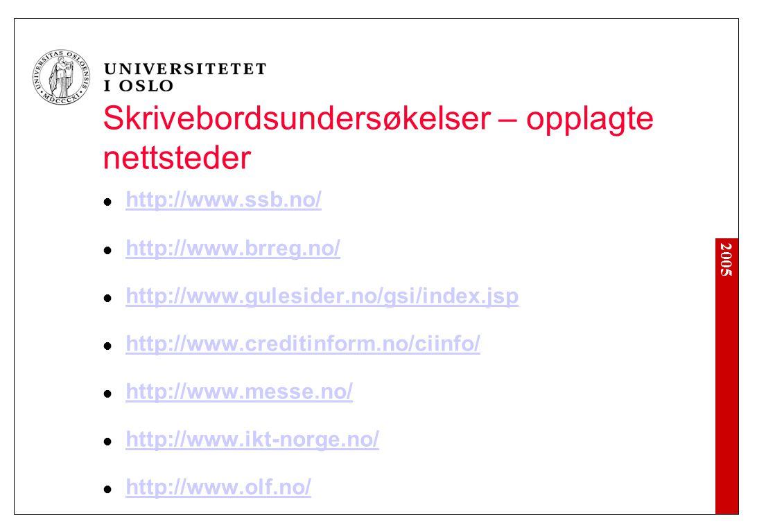 2005 Skrivebordsundersøkelser – opplagte nettsteder http://www.ssb.no/ http://www.brreg.no/ http://www.gulesider.no/gsi/index.jsp http://www.creditinf