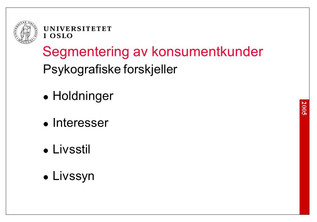 2005 Segmentering av konsumentkunder Psykografiske forskjeller Holdninger Interesser Livsstil Livssyn