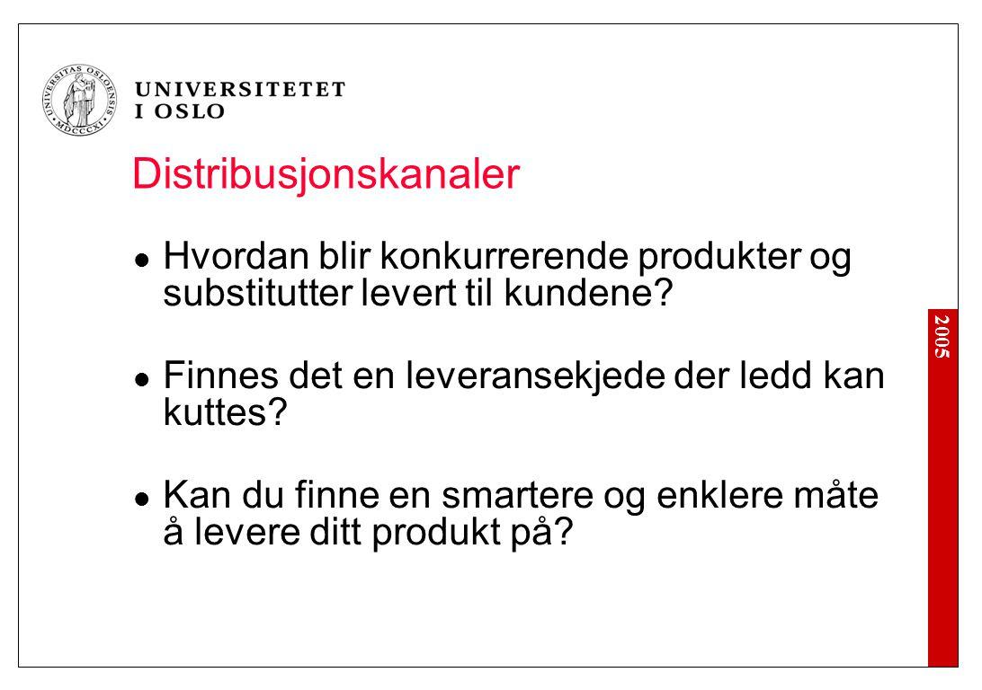 2005 Distribusjonskanaler Hvordan blir konkurrerende produkter og substitutter levert til kundene? Finnes det en leveransekjede der ledd kan kuttes? K