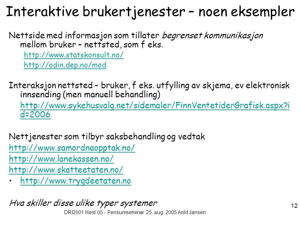 DRI2001 Høst 05 - Pensumseminar 25. aug. 2005 Arild Jansen 12 Interaktive brukertjenester – noen eksempler Nettside med informasjon som tillater begre