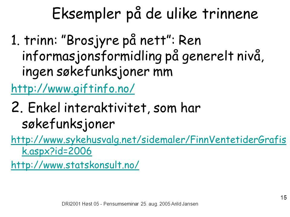 """DRI2001 Høst 05 - Pensumseminar 25. aug. 2005 Arild Jansen 15 Eksempler på de ulike trinnene 1. trinn: """"Brosjyre på nett"""": Ren informasjonsformidling"""