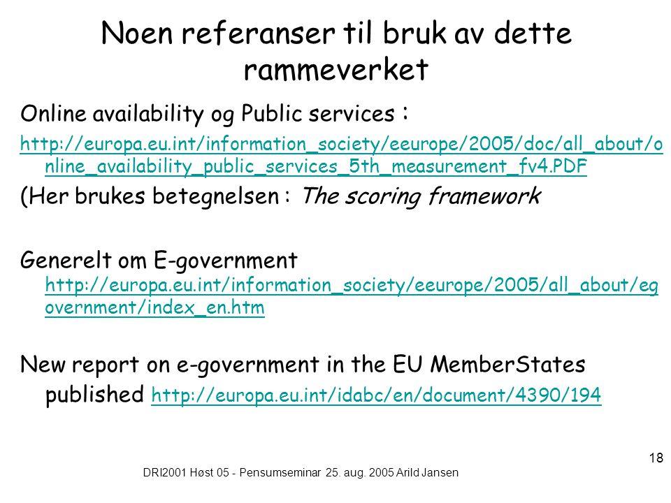 DRI2001 Høst 05 - Pensumseminar 25. aug. 2005 Arild Jansen 18 Noen referanser til bruk av dette rammeverket Online availability og Public services : h