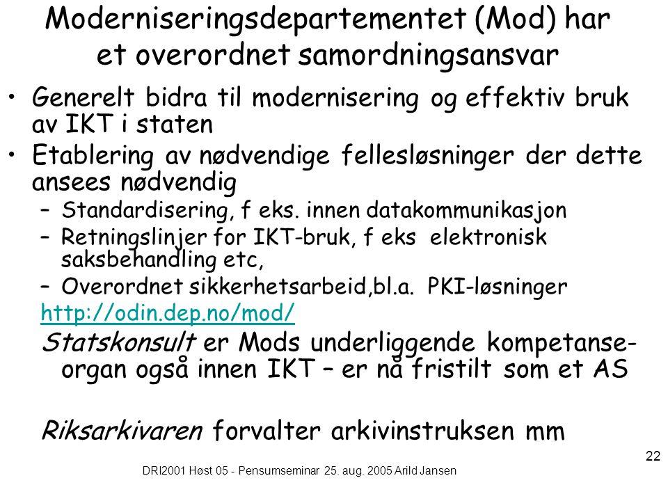 DRI2001 Høst 05 - Pensumseminar 25. aug. 2005 Arild Jansen 22 Moderniseringsdepartementet (Mod) har et overordnet samordningsansvar Generelt bidra til
