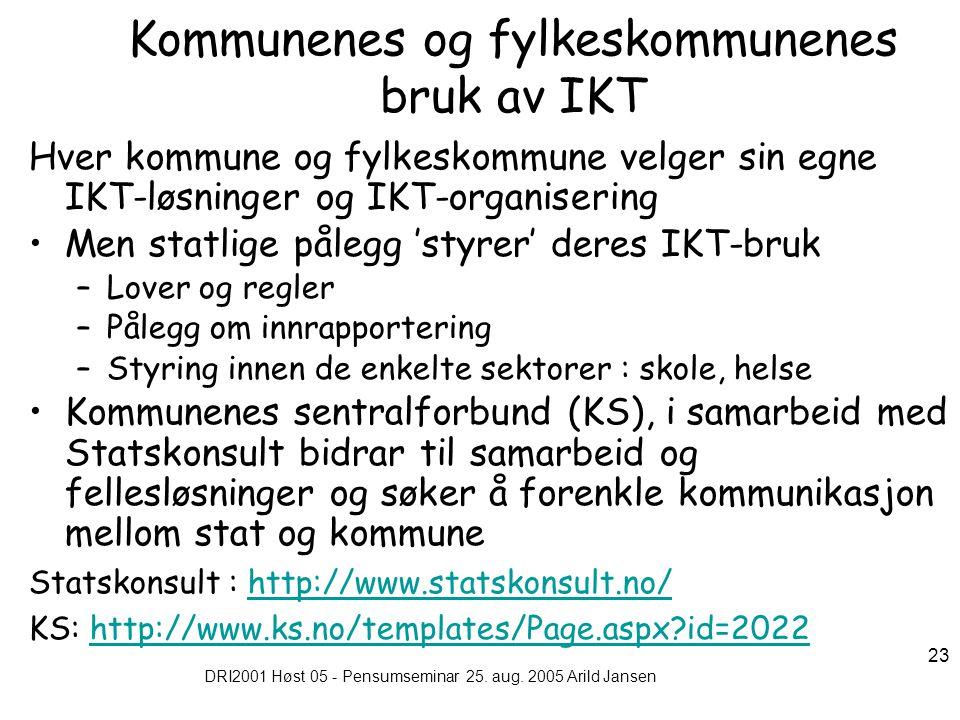 DRI2001 Høst 05 - Pensumseminar 25. aug. 2005 Arild Jansen 23 Kommunenes og fylkeskommunenes bruk av IKT Hver kommune og fylkeskommune velger sin egne