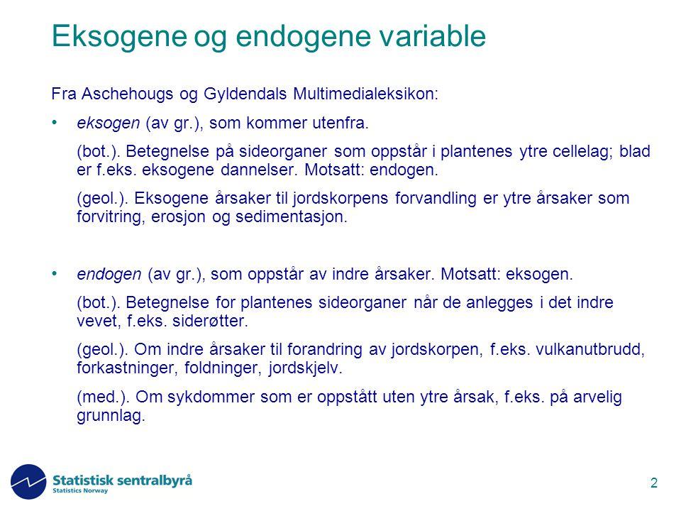 2 Eksogene og endogene variable Fra Aschehougs og Gyldendals Multimedialeksikon: eksogen (av gr.), som kommer utenfra. (bot.). Betegnelse på sideorgan