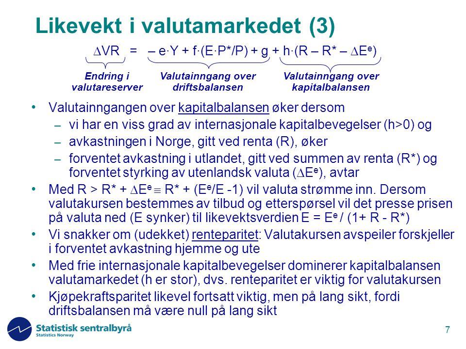 8 Likevekt i valutamarkedet (4) Fulle restriksjoner på internasjonale kapitalbevegelser  h = 0   VR = – e·Y + f·(E·P*/P) + g Balansen i valutamarkedet kun påvirket av driftsbalansen Renta påvirker ikke valutakursen direkte (bare indirekte via virkningene på Y og P) Myndighetene kan velge faste valutakurser, men da må  VR tilpasse seg Kan ikke velge en verdi på E som varig gjør  VR for stor (negativ) Valutainngang over driftsbalansen Valutainngang over kapitalbalansen Endring i valutareserver  VR = – e·Y + f·(E·P*/P) + g + h·(R – R* –  E e )