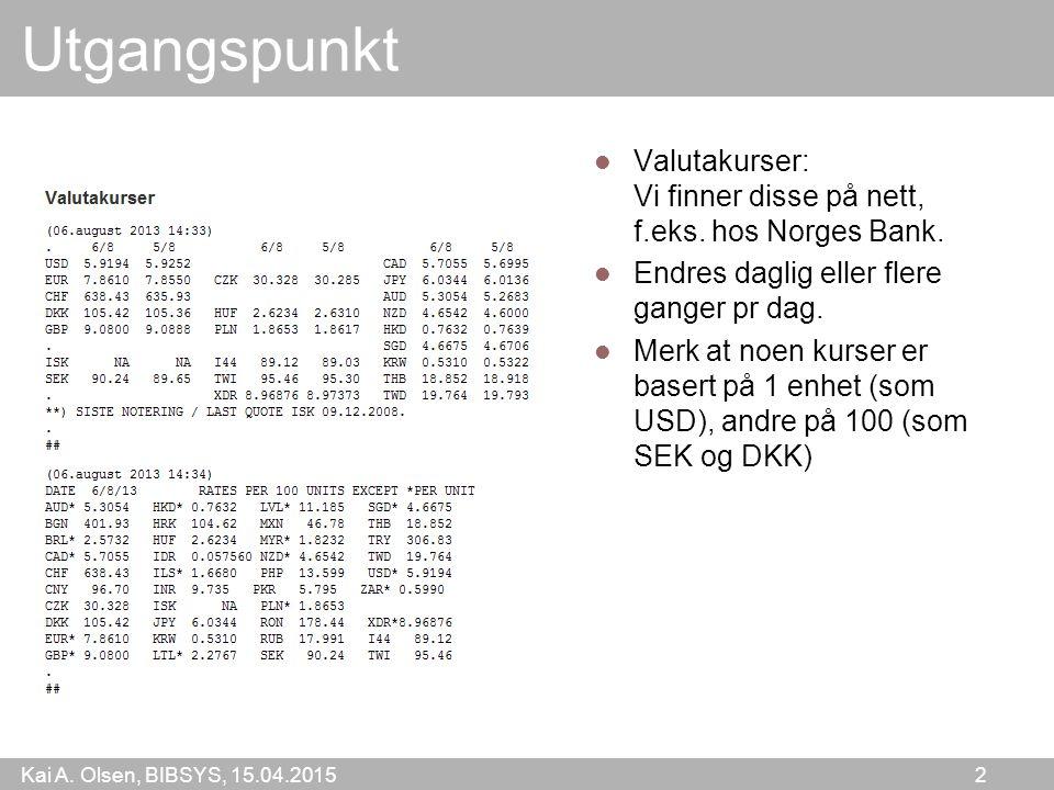Kai A. Olsen, BIBSYS, 15.04.2015 2 Utgangspunkt Valutakurser: Vi finner disse på nett, f.eks.