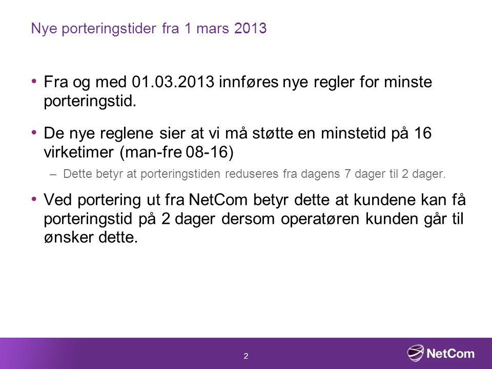 2 Nye porteringstider fra 1 mars 2013 Fra og med 01.03.2013 innføres nye regler for minste porteringstid.
