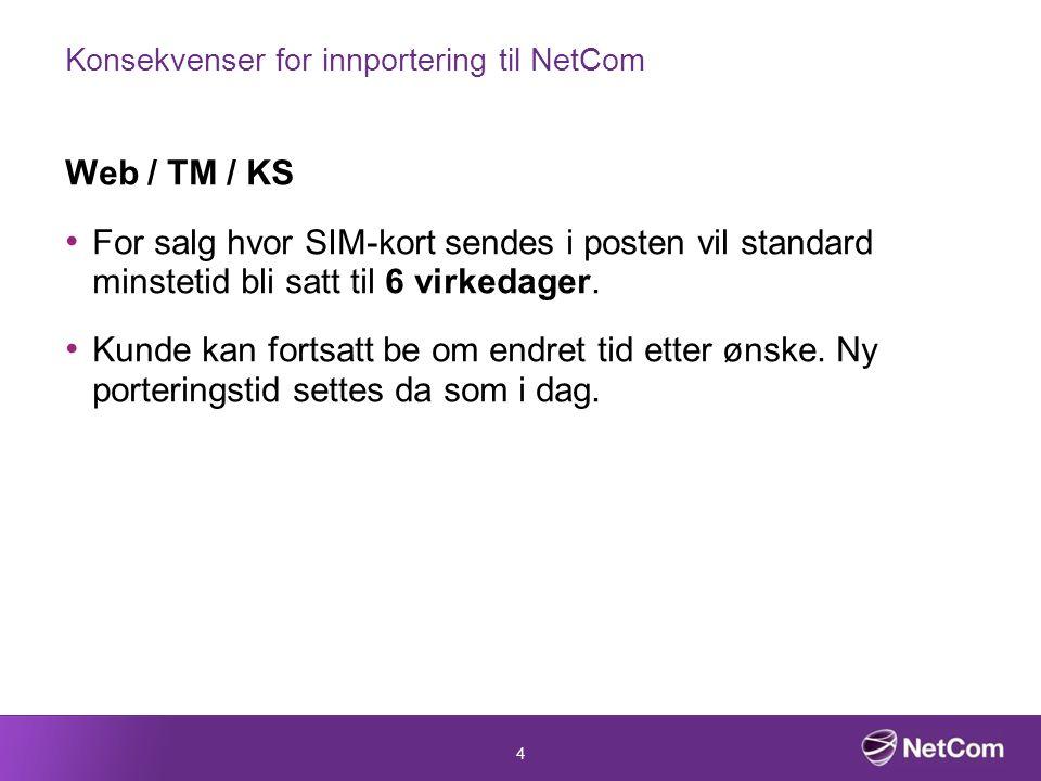 4 Konsekvenser for innportering til NetCom Web / TM / KS For salg hvor SIM-kort sendes i posten vil standard minstetid bli satt til 6 virkedager.