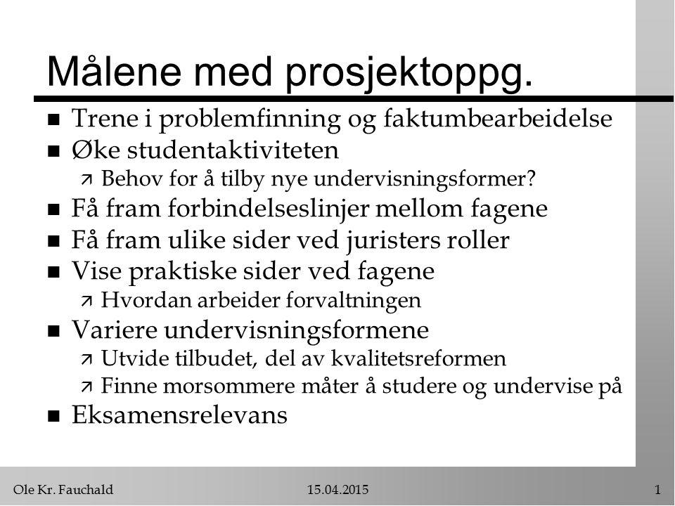 Ole Kr. Fauchald15.04.20151 Målene med prosjektoppg.