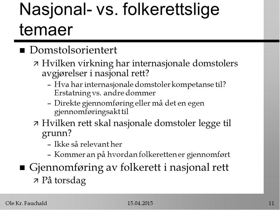 Ole Kr. Fauchald15.04.201511 Nasjonal- vs.