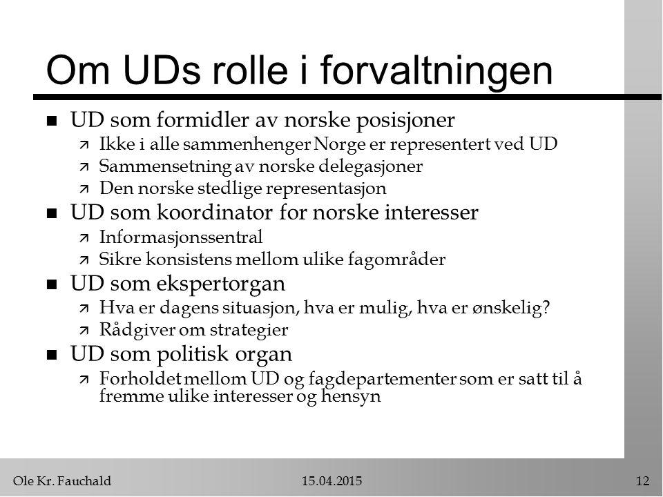 Ole Kr. Fauchald15.04.201512 Om UDs rolle i forvaltningen n UD som formidler av norske posisjoner ä Ikke i alle sammenhenger Norge er representert ved