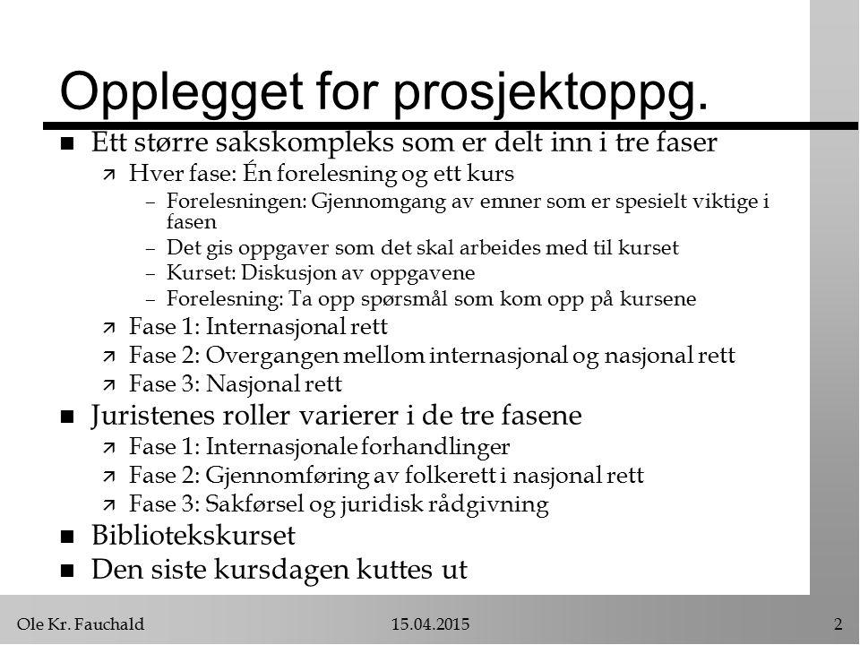 Ole Kr. Fauchald15.04.20152 Opplegget for prosjektoppg.