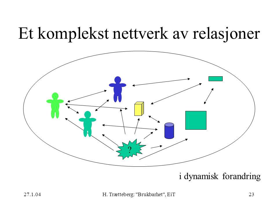 27.1.04H.Trætteberg: Brukbarhet , EiT23 Et komplekst nettverk av relasjoner .