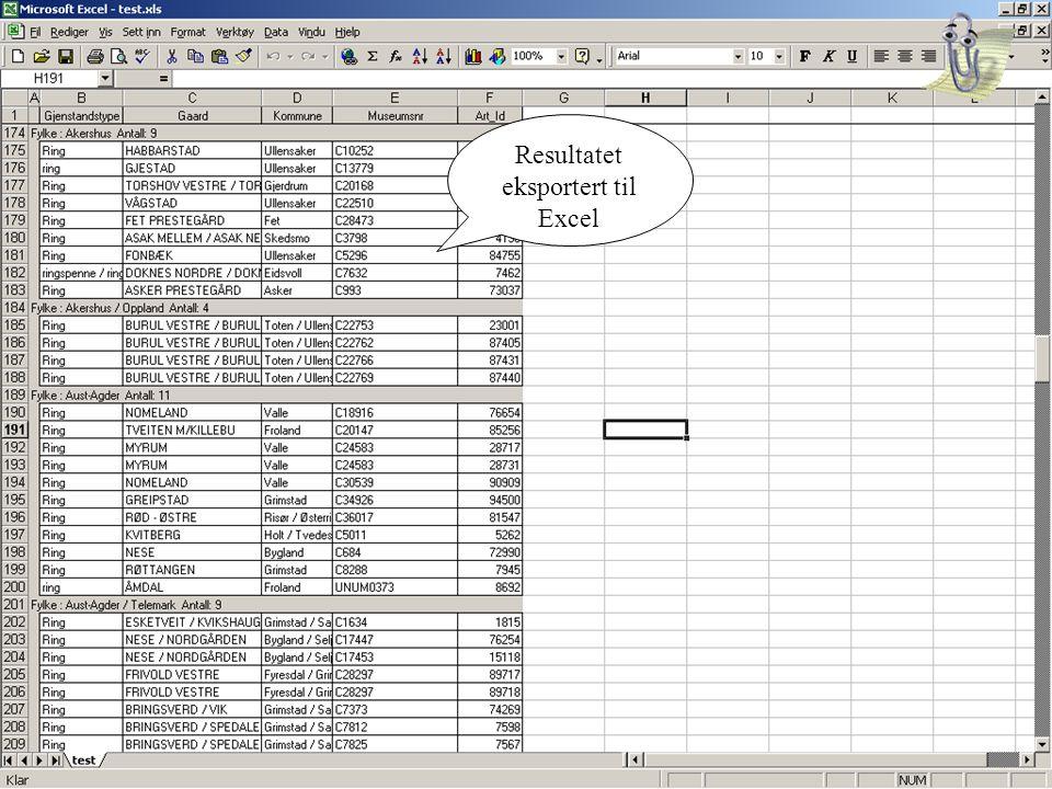 Resultatet eksportert til Excel