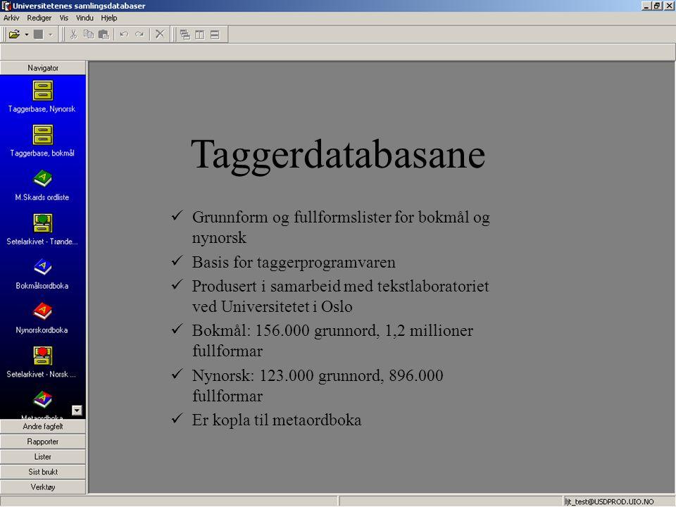Taggerdatabasane Grunnform og fullformslister for bokmål og nynorsk Basis for taggerprogramvaren Produsert i samarbeid med tekstlaboratoriet ved Unive