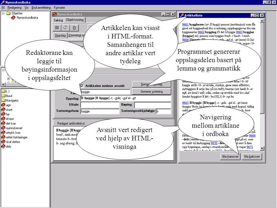 Programmet genererar oppslagsdelen basert på lemma og grammatikk Redaktørane kan leggje til bøyingsinformasjon i oppslagsfeltet Artikkelen kan visast