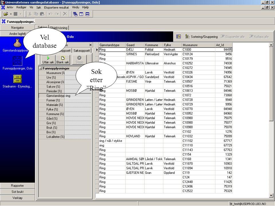 Søk etter Ring Vel database