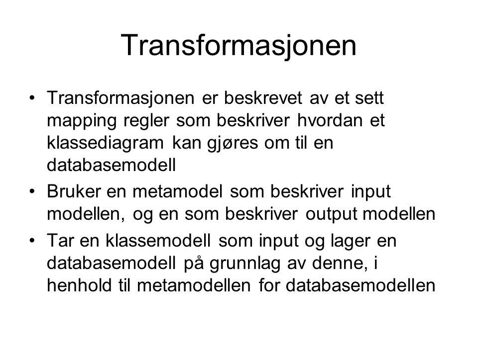 Transformasjonen Transformasjonen er beskrevet av et sett mapping regler som beskriver hvordan et klassediagram kan gjøres om til en databasemodell Bruker en metamodel som beskriver input modellen, og en som beskriver output modellen Tar en klassemodell som input og lager en databasemodell på grunnlag av denne, i henhold til metamodellen for databasemodellen