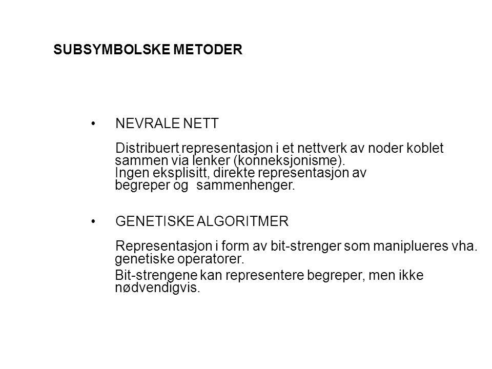 SUBSYMBOLSKE METODER NEVRALE NETT Distribuert representasjon i et nettverk av noder koblet sammen via lenker (konneksjonisme). Ingen eksplisitt, direk
