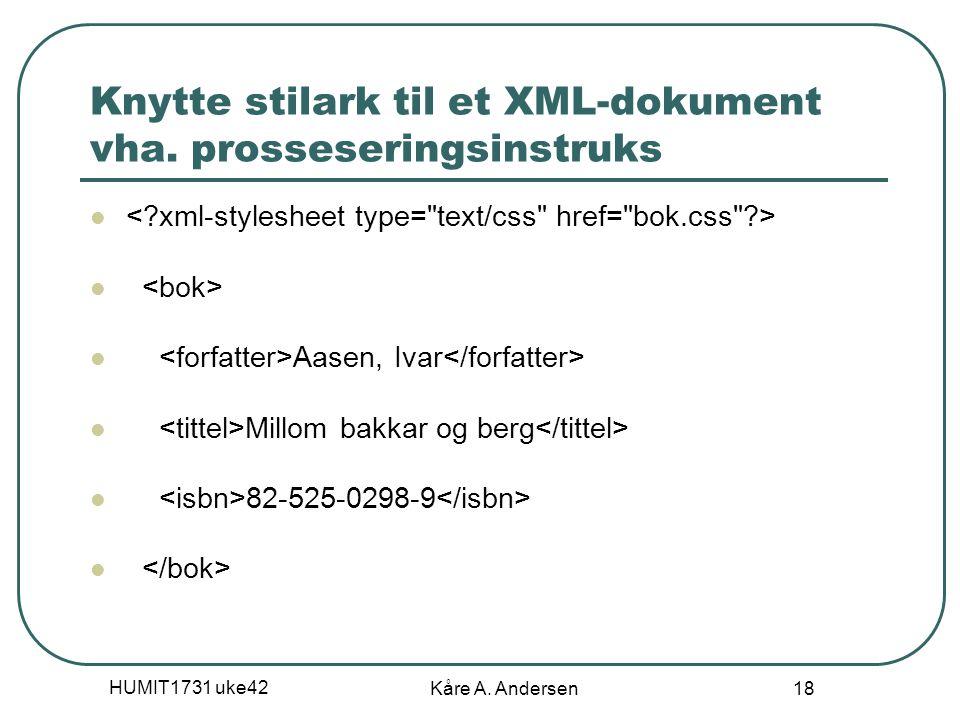HUMIT1731 uke42 Kåre A. Andersen 18 Knytte stilark til et XML-dokument vha. prosseseringsinstruks Aasen, Ivar Millom bakkar og berg 82-525-0298-9