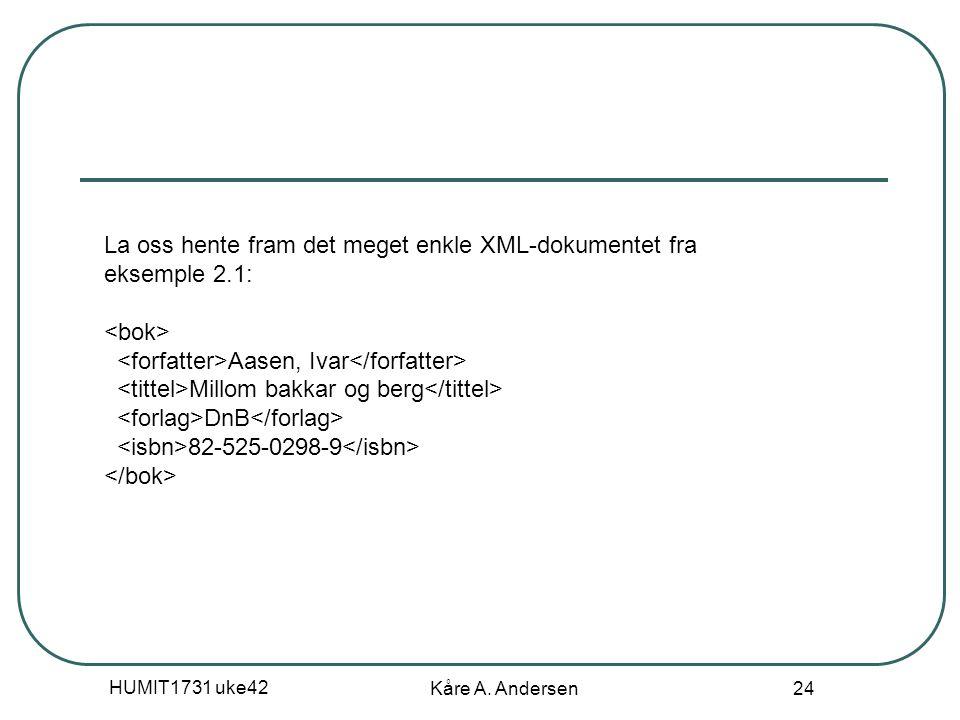 HUMIT1731 uke42 Kåre A. Andersen 24 La oss hente fram det meget enkle XML-dokumentet fra eksemple 2.1: Aasen, Ivar Millom bakkar og berg DnB 82-525-02