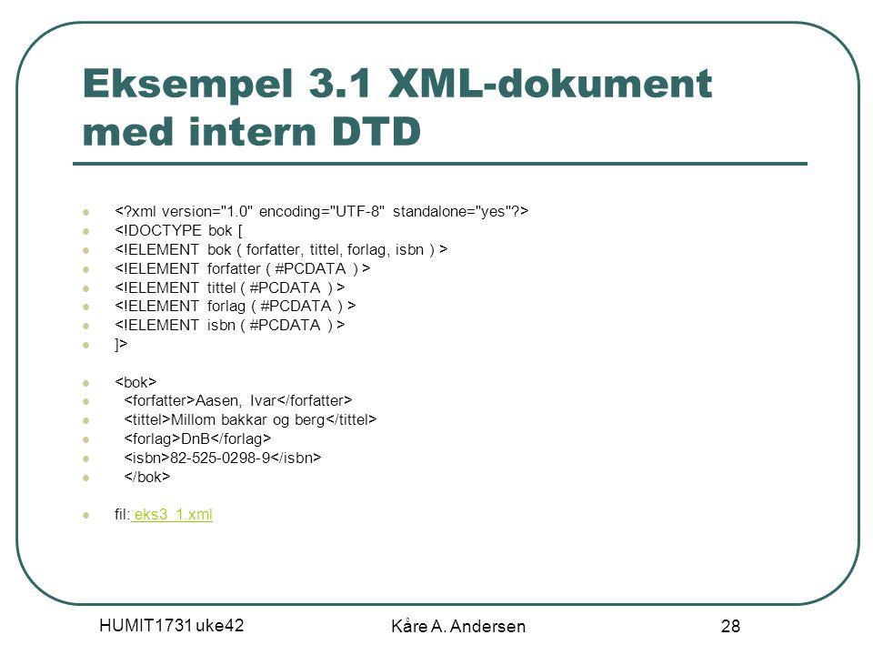 HUMIT1731 uke42 Kåre A. Andersen 28 Eksempel 3.1 XML-dokument med intern DTD <!DOCTYPE bok [ ]> Aasen, Ivar Millom bakkar og berg DnB 82-525-0298-9 fi