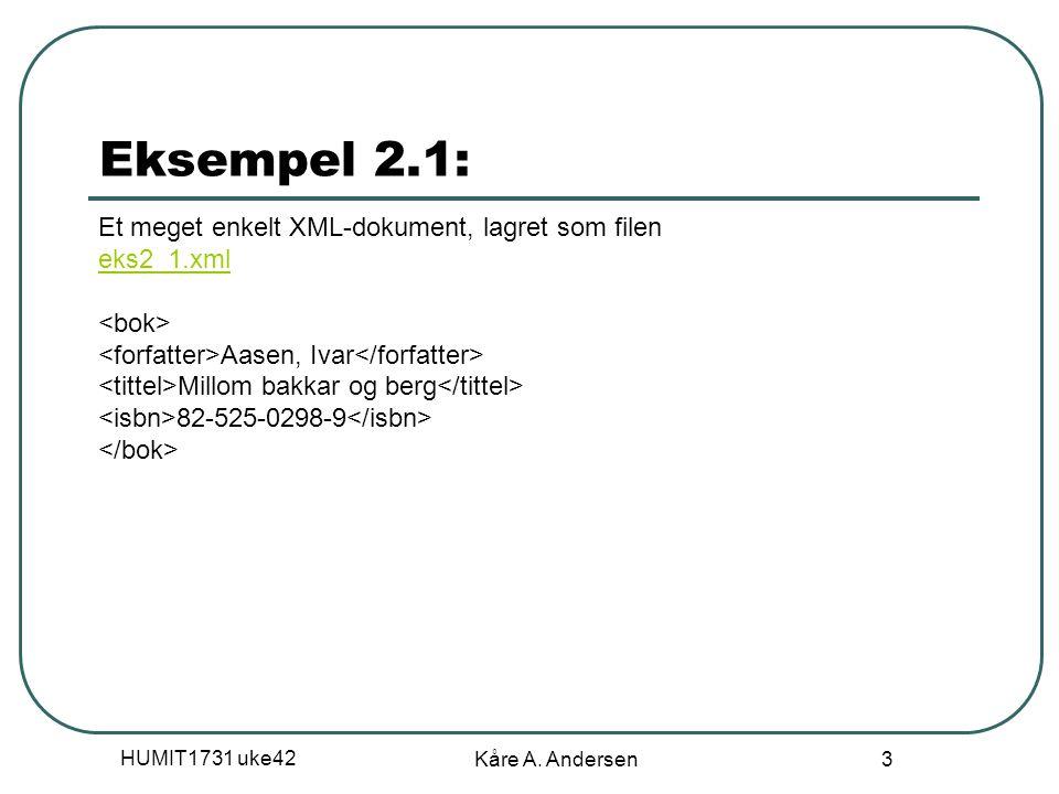 HUMIT1731 uke42 Kåre A. Andersen 3 Eksempel 2.1: Et meget enkelt XML-dokument, lagret som filen eks2_1.xml eks2_1.xml Aasen, Ivar Millom bakkar og ber