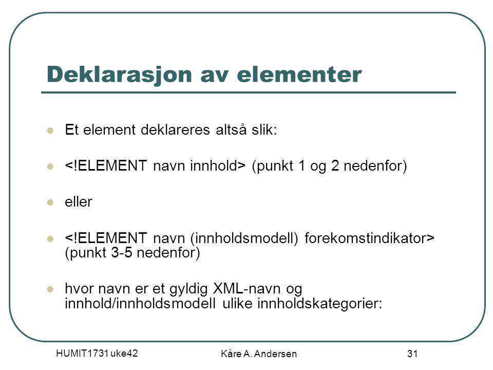 HUMIT1731 uke42 Kåre A. Andersen 31 Deklarasjon av elementer Et element deklareres altså slik: (punkt 1 og 2 nedenfor) eller (punkt 3-5 nedenfor) hvor