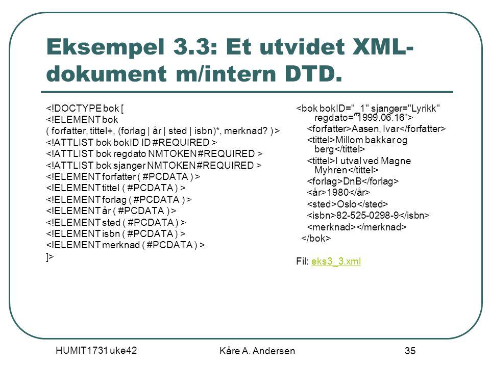 HUMIT1731 uke42 Kåre A. Andersen 35 Eksempel 3.3: Et utvidet XML- dokument m/intern DTD. <!DOCTYPE bok [ <!ELEMENT bok ( forfatter, tittel+, (forlag |