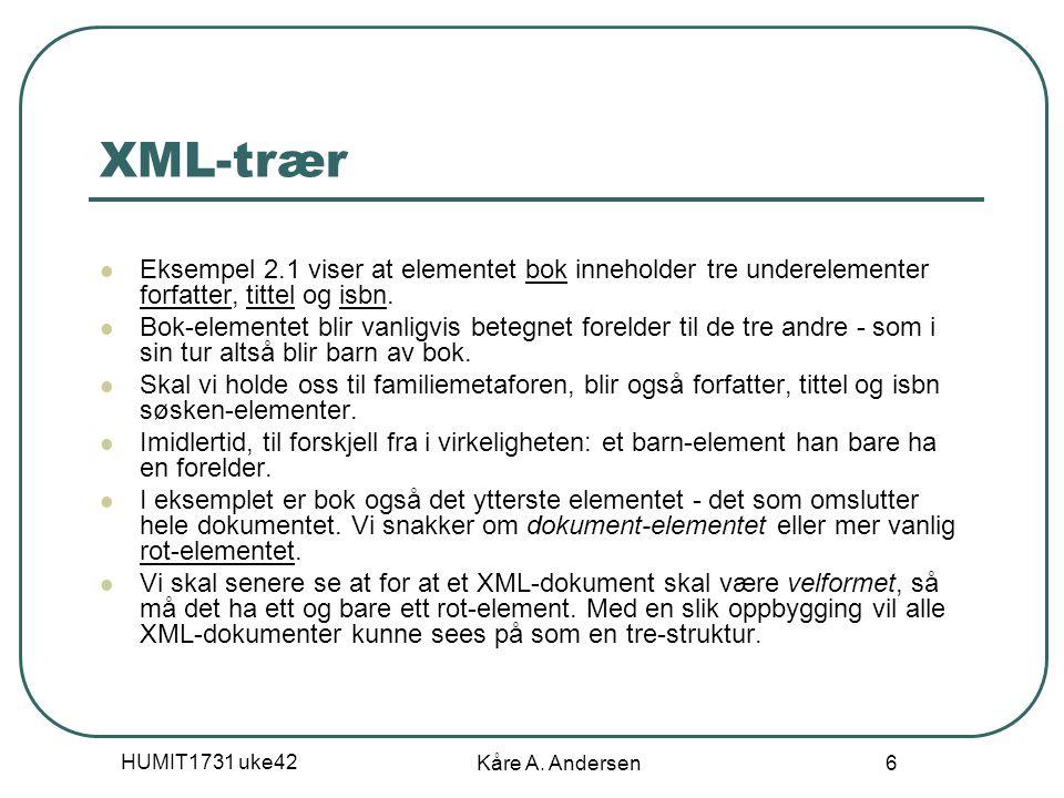 HUMIT1731 uke42 Kåre A. Andersen 6 XML-trær Eksempel 2.1 viser at elementet bok inneholder tre underelementer forfatter, tittel og isbn. Bok-elementet