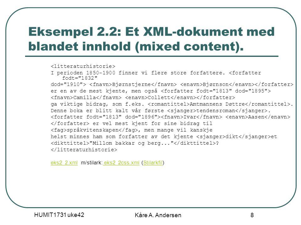 HUMIT1731 uke42 Kåre A. Andersen 8 Eksempel 2.2: Et XML-dokument med blandet innhold (mixed content). I perioden 1850-1900 finner vi flere store forfa