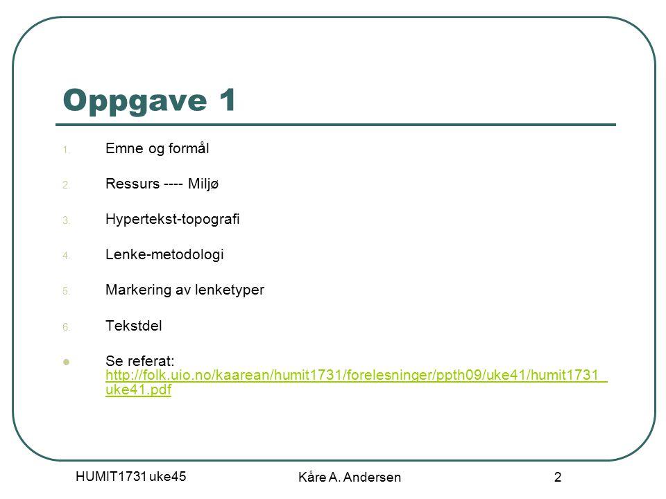 HUMIT1731 uke45 Kåre A.Andersen 2 Oppgave 1 1. Emne og formål 2.