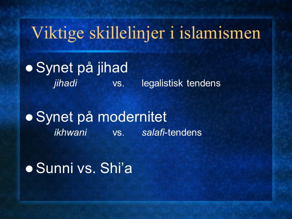 Viktige skillelinjer i islamismen Synet på jihad jihadivs.legalistisk tendens Synet på modernitet ikhwanivs. salafi-tendens Sunni vs. Shi'a