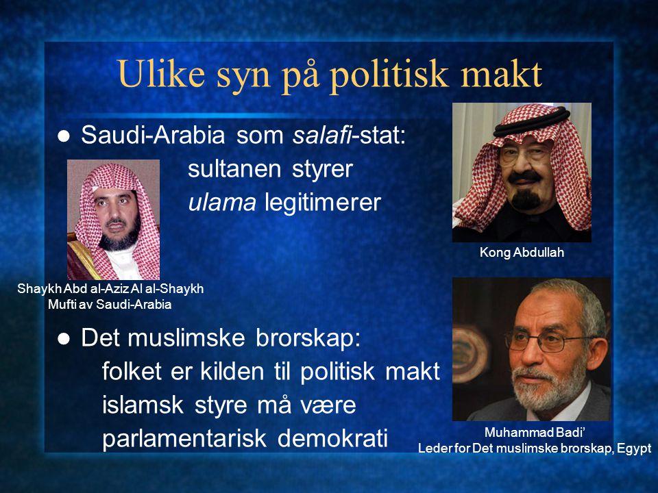 Ulike syn på politisk makt Saudi-Arabia som salafi-stat: sultanen styrer ulama legitimerer Det muslimske brorskap: folket er kilden til politisk makt