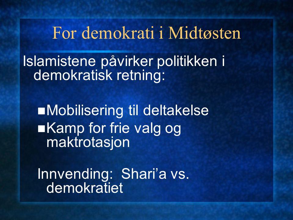 For demokrati i Midtøsten Islamistene påvirker politikken i demokratisk retning: Mobilisering til deltakelse Kamp for frie valg og maktrotasjon Innven