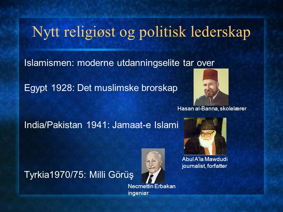 Nytt religiøst og politisk lederskap Shia-unntaket: geistlig-ledet islamisme Irak 1958: Hizb al-Da'wa Iran 1960-tallet: geistlig reformbevegelse Ayatollah Muhammad Baqir al-Sadr Ayatollah Morteza Motahhhari