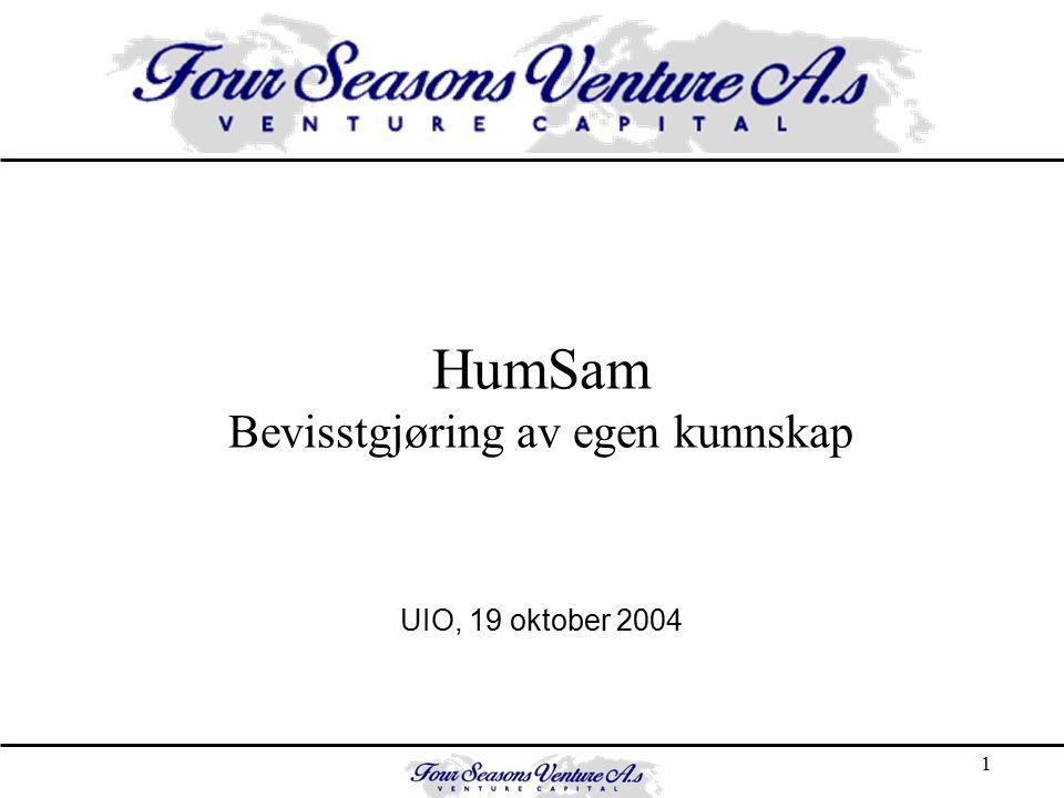 1 HumSam Bevisstgjøring av egen kunnskap UIO, 19 oktober 2004