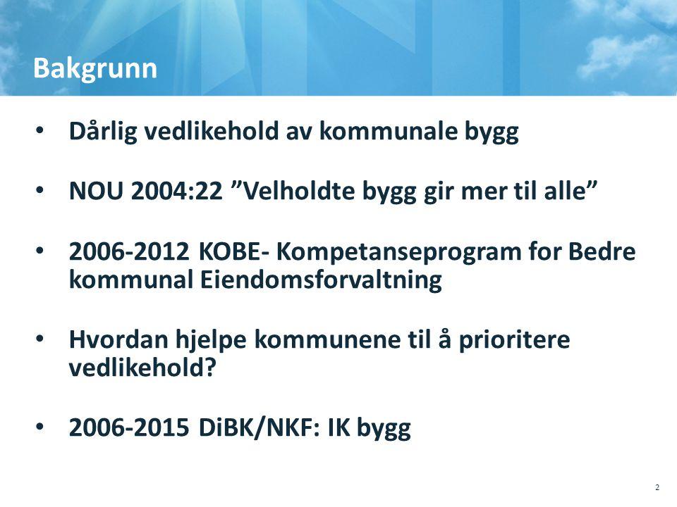 Bakgrunn Dårlig vedlikehold av kommunale bygg NOU 2004:22 Velholdte bygg gir mer til alle 2006-2012 KOBE- Kompetanseprogram for Bedre kommunal Eiendomsforvaltning Hvordan hjelpe kommunene til å prioritere vedlikehold.