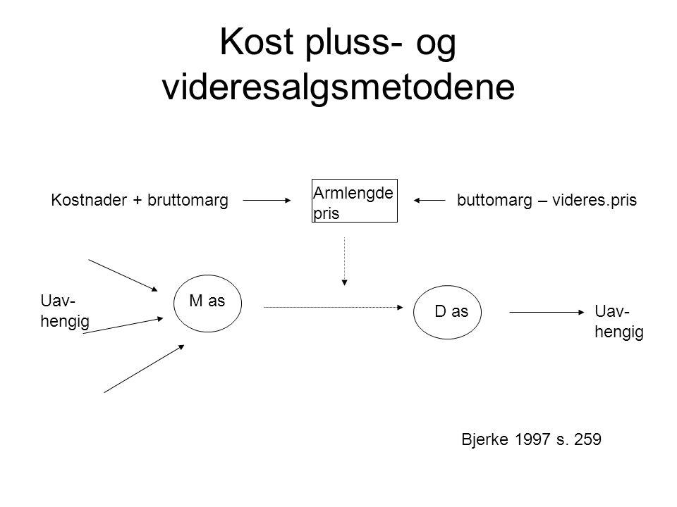 Kost pluss- og videresalgsmetodene M as D as Uav- hengig Uav- hengig Kostnader + bruttomarg buttomarg – videres.pris Armlengde pris Bjerke 1997 s.