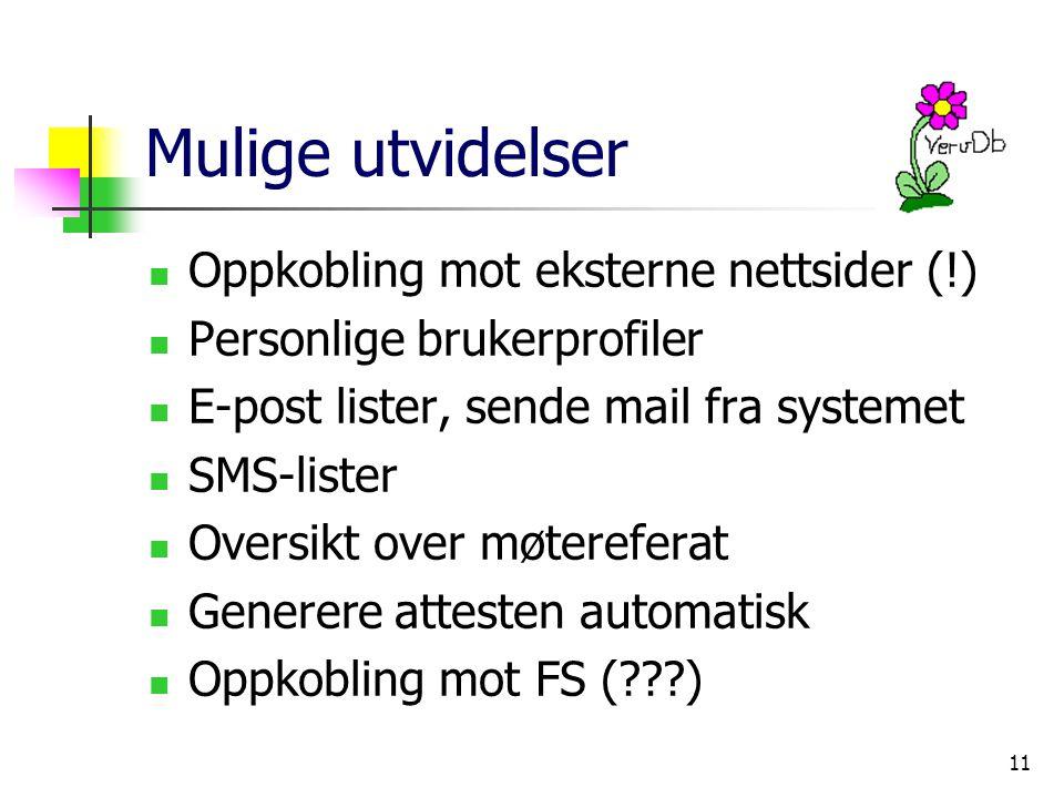 11 Mulige utvidelser Oppkobling mot eksterne nettsider (!) Personlige brukerprofiler E-post lister, sende mail fra systemet SMS-lister Oversikt over møtereferat Generere attesten automatisk Oppkobling mot FS ( )