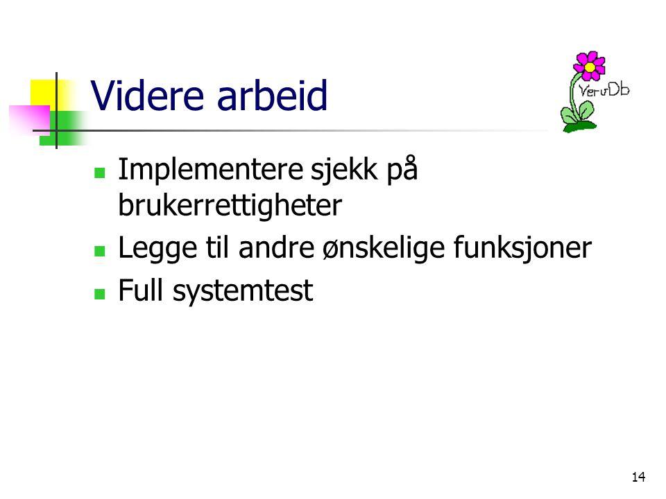 14 Videre arbeid Implementere sjekk på brukerrettigheter Legge til andre ønskelige funksjoner Full systemtest