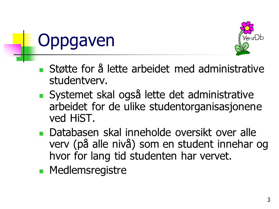 3 Oppgaven Støtte for å lette arbeidet med administrative studentverv.