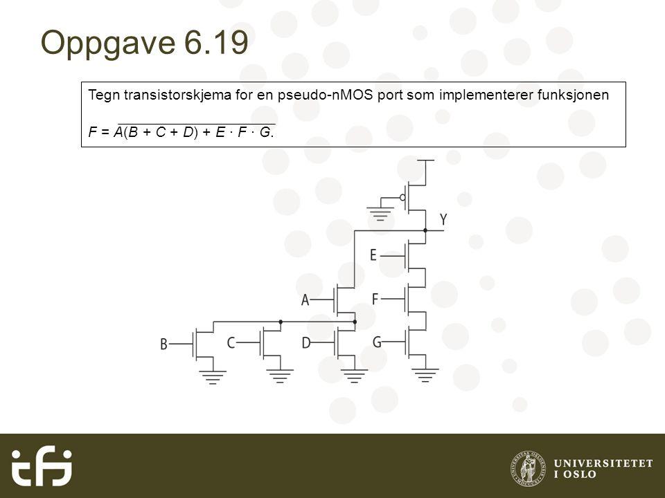 Oppgave 6.25 Sammenlign gjennomsnittelig tidsforsinkelse i 2, 4, 8 og 16 inngangs pseudo nMOS og SFPL NOR porter når vi antar at portene skal drive fire identiske porter.