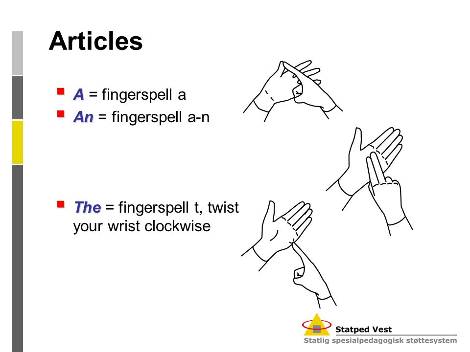 Articles  A  A = fingerspell a  An  An = fingerspell a-n  The  The = fingerspell t, twist your wrist clockwise