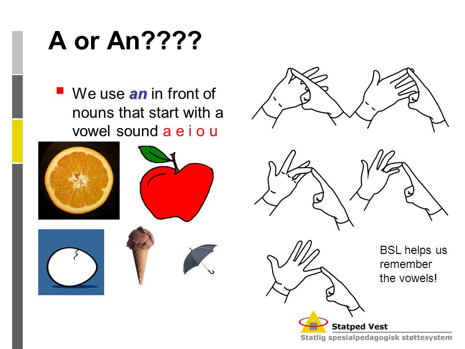 A or An???? an  We use an in front of nouns that start with a vowel sound a e i o u BSL helps us remember the vowels!