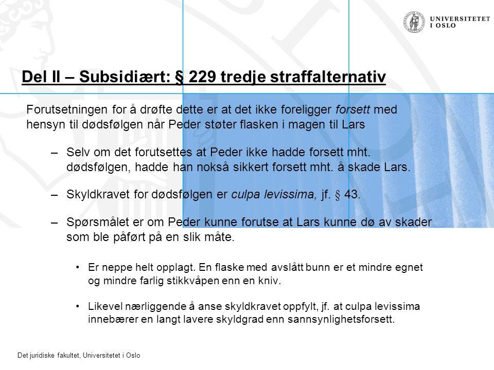Det juridiske fakultet, Universitetet i Oslo Del II – Subsidiært: § 229 tredje straffalternativ Forutsetningen for å drøfte dette er at det ikke forel