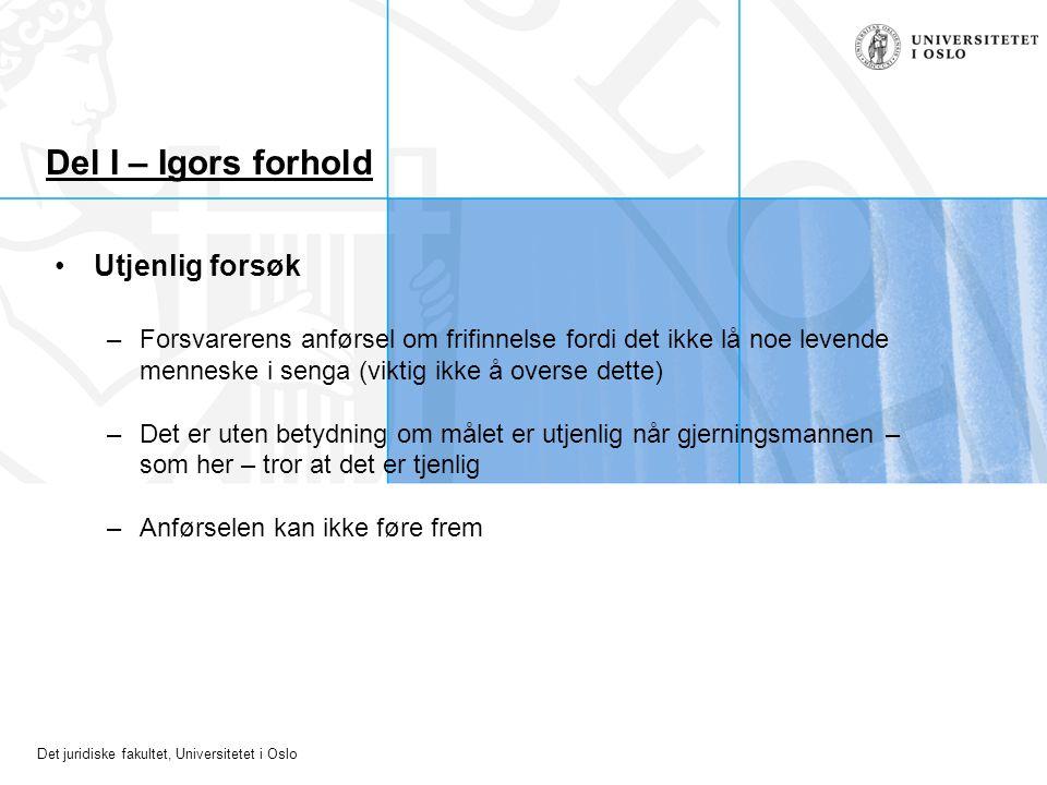 Det juridiske fakultet, Universitetet i Oslo Del I – Igors forhold Utjenlig forsøk –Forsvarerens anførsel om frifinnelse fordi det ikke lå noe levende